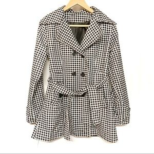 Black and white gingham plaid duster coat S/M
